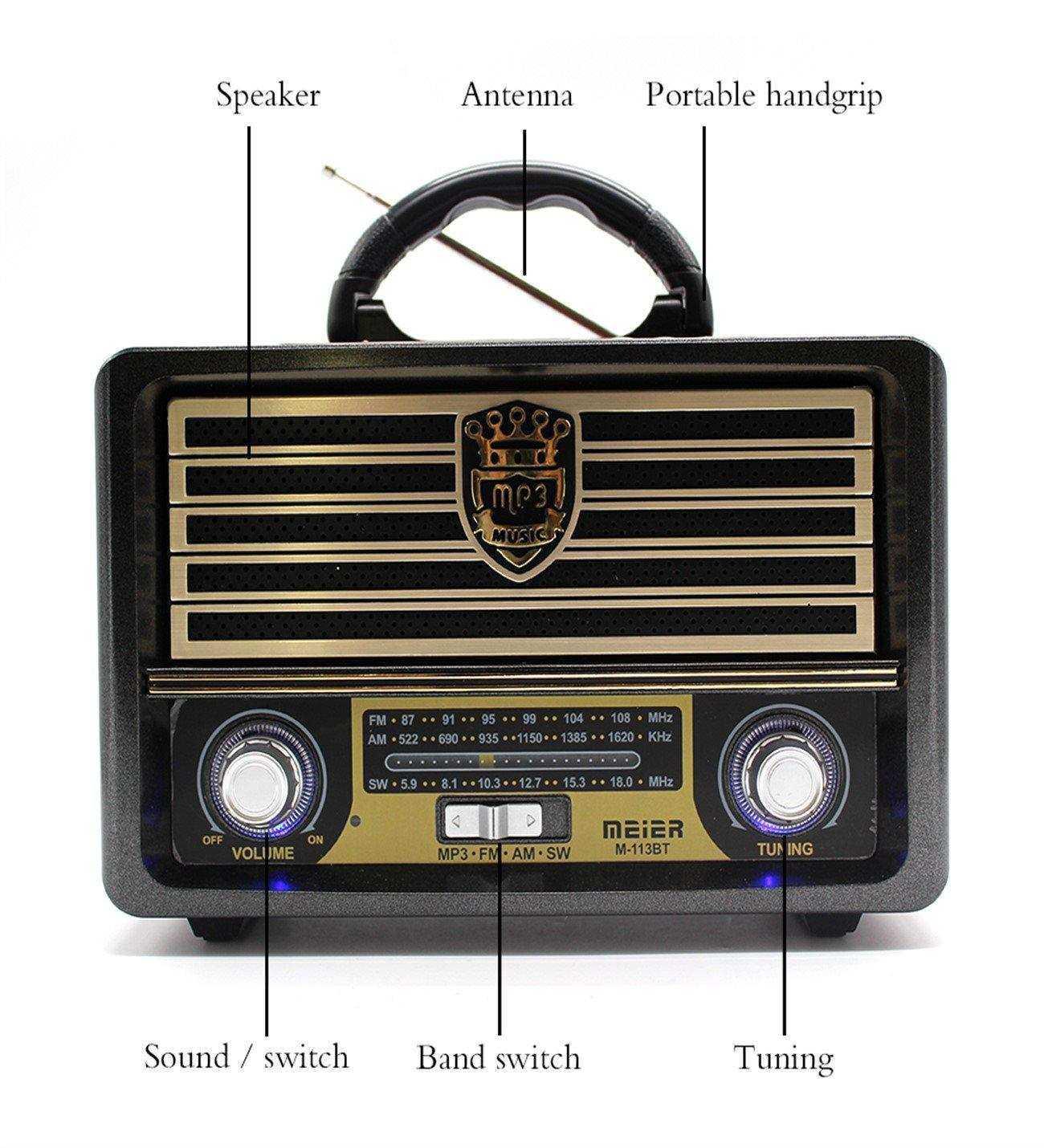 Meier M-113BT Nostaljik Usb-TfCard-Bluetooth Destekli FM Radyo