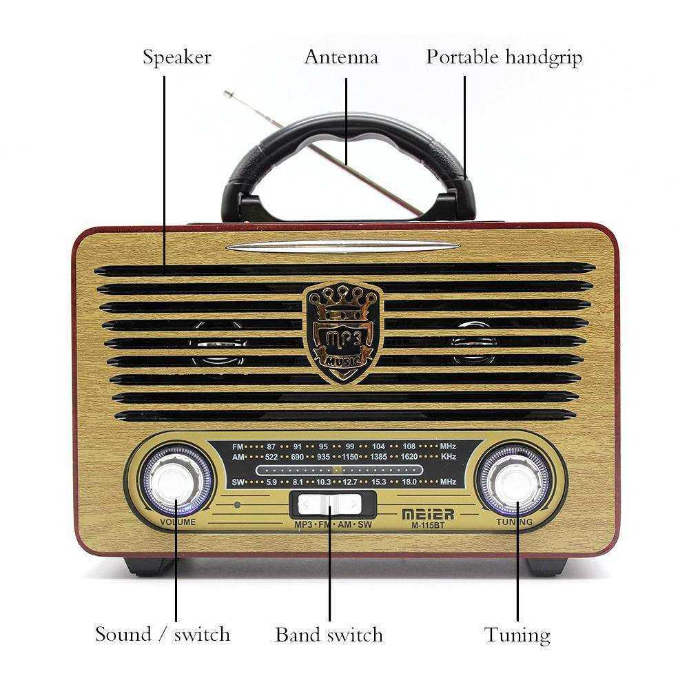 MEIER M-115BT ŞARJLI BLUETOOTH  Retro Wooden  Radio
