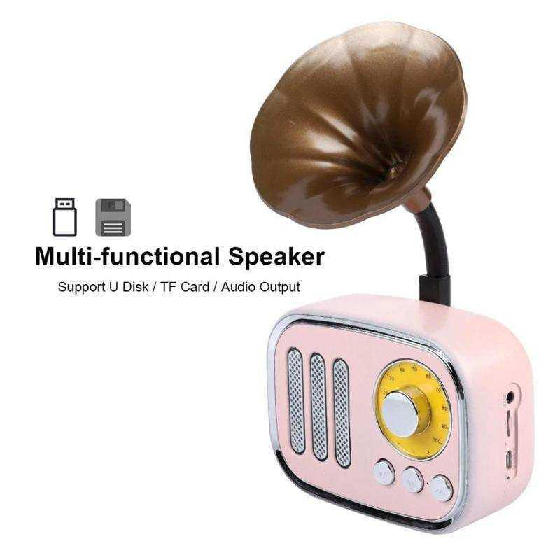 OXID Mini Gramafon Bluetooh Speaker pink